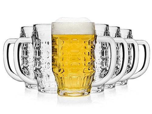 Bormioli Rocco 133910337 Malles Bierseidel, Bierkrug, Bierglas, 370ml, mit Füllstrich bei 0.3l, Glas, transparent, 6 Stück