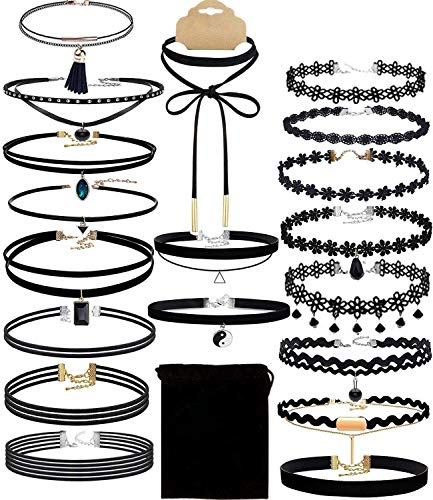 Outee 20 Pcs Black Chokers Necklaces for Women Choker Set Choker Necklaces for Teen Girls Classic Choker Henna Choker Layered Necklaces with Material of Velvet