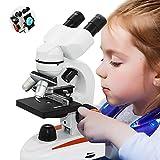 Profession Enfants Science Laboratory Microscope De Biologie, Stéréo Binocular Microscope Composé, HD 5000 Fois, Acariens Sperme Magnifier Alimentée Par Batterie,