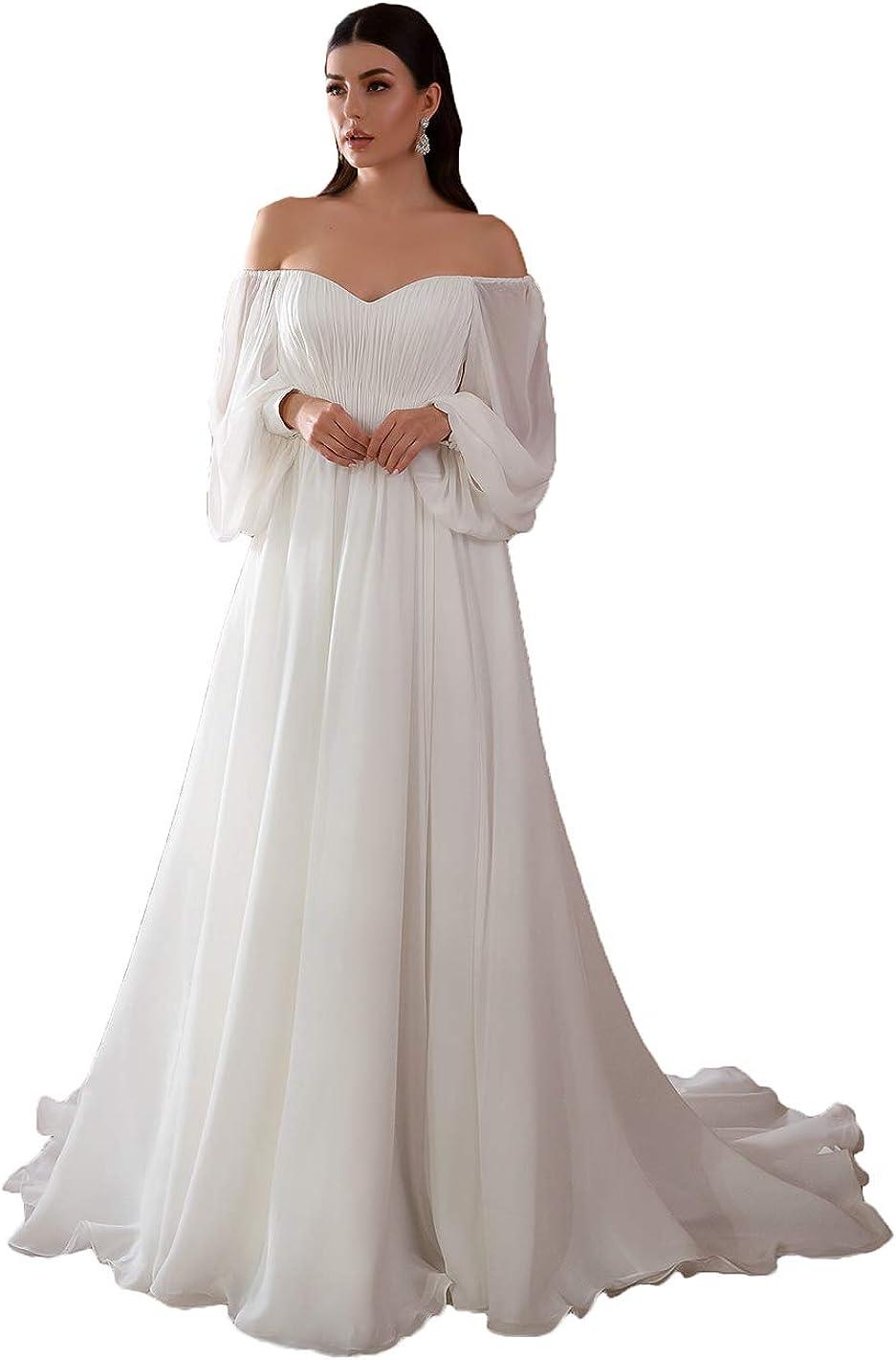 Awishwill Women's Long Puffy Sleeve Wedding Dresses Boho Chiffon Beach Bridal Gowns 2021