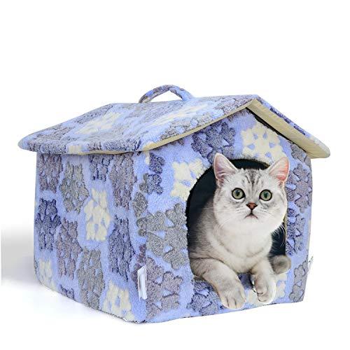 Nobleza Cuccia Gatto Chiusa Interno 42 x 39 x 33 cm - Letto Gatto Nicchia, Cuccia Igloo per Gatti, Cani Piccoli e Cucciolo, Conigli, Morbido Caldo e Lavabile Blu