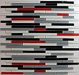 Red White Black Grey Glass Mosaic backsplash Tile (1, Sheet) Glass backsplash Tiles for Kitchen Bathroom Walls