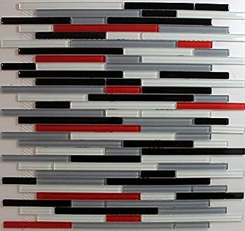 Red White Black Grey Glass Mosaic backsplash Tile  1 Sheet  Glass backsplash Tiles for Kitchen Bathroom Walls
