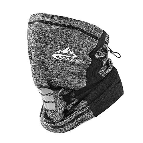 Seamless Face Mask Bandana Rave Neck Gaiter Scarf Face Cover Women Men Dust UV Headwear Shield Magic Outdoor Balaclava Headband Sweatband Head Wrap for Motorcycle Running Riding(Rope/Grey)