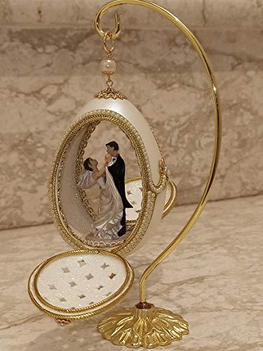 Pierre Lorren Jewellery Faberge Huevo de estilo ruso hecho a mano de oro de 24 quilates, regalo de matrimonio para hija o hijo, boda para esposa y padres, huevo natural, adorno coleccionable