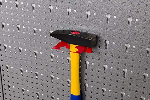 Große Werkzeug Lochwand bestehend aus 4 Lochblechen á 58 x 40 cm und Hakensortiment 22 Teile. Aus Metall in Hammerschlag-Grau und Rot. Gesamtmaß: 160 x 58 x 1 cm - 8