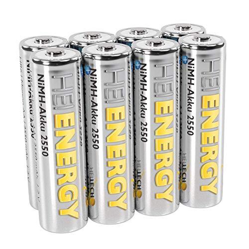 HEITECH AA Akku Mignon 2550 mAh 1,2V NiMH TÜV geprüft 8 Stück - Wiederaufladbare Batterien mit geringer Selbstentladung - Akkus für Geräte mit hohem Stromverbrauch