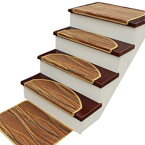 HSWYJJPFB Treppenteppiche 15-teiliges Set halbrund Läufer Teppiche   Waschbar   Selbstsaugender   Rutschfester   -Treppenteppich/Pad, 9mm, Mehrfarbig (Farbe : C, Größe : 65x24cm)