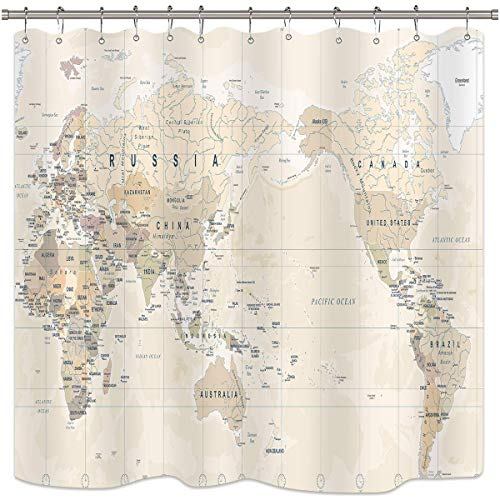 AdaCrazy Mapa del Mundo Patrón de Fondo Cortina de Ducha Impresión 3D Baño de Tela de poliéster con Revestimiento Impermeable con 12 Ganchos de 71 Pulgadas