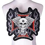 KIVDFIGC Parche bordado con diseño de calavera, ideal para planchar, para motero, motero, roca, para ropa
