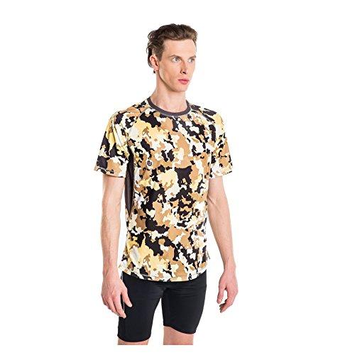 Nessi T-Shirt MK Fitness T-Shirt de Course à Manches Longues Respirant Brown Puzzles M - 03 Brown Puzzles