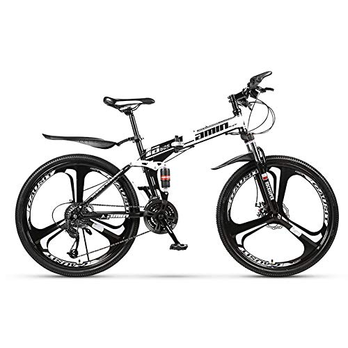 SCYDAO Adult Foldable Mountain Bike 26 Inch, 21/24/27/30 Speed Four Choices, Full Suspension Mountain Bike, Double Disc Brake Damping Speed Mountain Bike All-in-One Bicycle,White,27 Speed