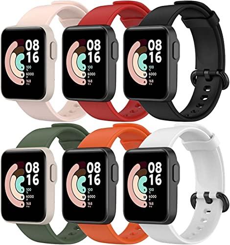 Gransho Armband kompatibel mit Xiaomi Mi Watch Lite/Redmi Watch, Silikon Sportarmband Uhr Band Strap Ersatzarmband Uhrenarmband (6-Pack H)