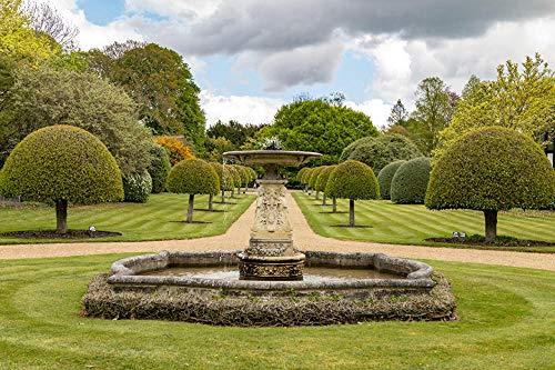 LFNSTXT Erwachsenenpuzzle 1000 Teile - United Kingdom Gardens Brunnen Ascott House Puzzle für Erwachsene, Familien und Kinder Lernspiel Spielzeug Heimdekoration (70 x 50 cm)