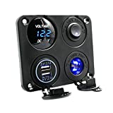 WINOMO 4 in 1 Power Charger Socket Panel Dual USB Socket Charger Voltmeter for Car Boat Rv