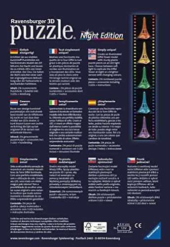 Ravensburger 125791, Puzzle 3D, Puzzle 3D Tour Eiffel Night, Edición Nocturna, 216 Piezas, Edad Recomendada 12+
