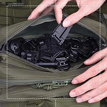 Eagool 32 PCS Clip De Vitesse Tactique Molle Sangle Attachements pour Sac À Dos Tactique Gilet D-Anneau De Verrouillage Tube De l'eau Clip Web Dominator Boucle avec Chaîne Élastique