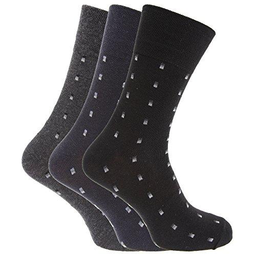 Textiles Universels Chaussettes pour diabétiques (3 paires) - Homme (39-45 EUR) (Noir/Bleu marine/Gris)