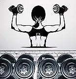 wZUN Vinilo Tatuajes de Pared Muscle Girl Hermoso Cuerpo con Mancuernas Bodybuilding Club Gym Decoración Etiqueta de la Pared 69x50cm