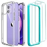 ESR Funda Compatible con iPhone 12 Mini 5.4''2020 con 2 Protector de Pantalla, Carcasa Anti-Amarillea y Anti-Arañazos, Funda HD Claro Híbrido, Transparente