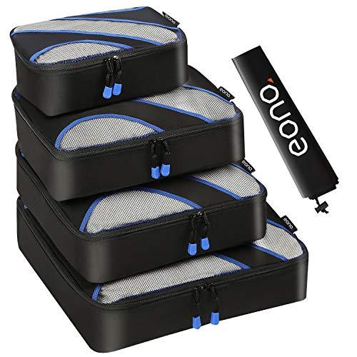 Amazon Brand - Eono 5 Set Cubos de Embalaje, 4 Tamaños Diferentes Equipaje de Viaje Organizadores de Embalaje y 1 Bolsa de Lavandería - Negro