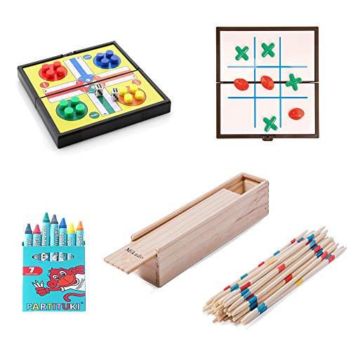 Partituki Pack Juegos de Mesa Familiares Incluye: Kit de 7 Ceras, Mini Juego de Parchís, Mini Juego de 3 en Raya y Mikado