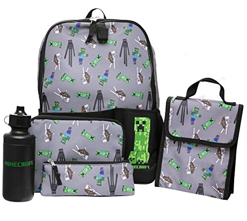 Minecraft Kids Minecraft Backpack 5 Piece School Set Including Lunchbag, Water Bottle, Pencil Case and Utility Case