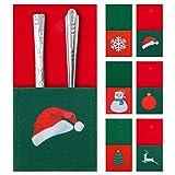 ziidoo Bolsa para Cubiertos de Navidad,Seis Tipos de Porta Utensilios con Temática Navideña,Papá Noel,Reno,árbol de Navidad,Copos de Nieve,Sombreros y linternas,para la Decoración de La Mesa Navideña