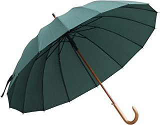 Household Umbrellas Wooden Handle Umbrellas Solid Wood Curved Handles Windproof Double Umbrellas Five Colors Available Huhero (Color : Green)