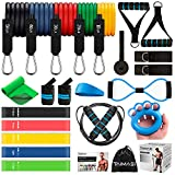 23Pcs Resistance Bands Set Workout Bands, 5 Stackable Exercise Bands with Handles, 5 Resistance Loop...