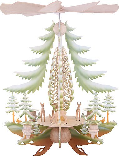 1-tier German Christmas Pyramid carved deer, colored - 35cm / 14inch - Kunstgewerbe Taulin