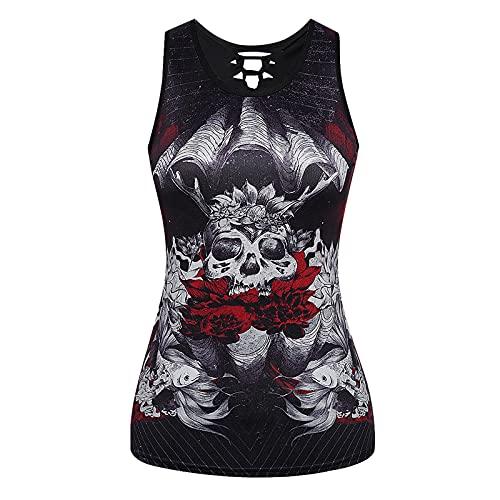 XOXSION Camiseta de verano para mujer, parte superior sin mangas, cuello redondo, vendaje de esqueleto gótico, estampado hueco, chaleco, blusa, túnica, camis Vino M