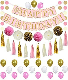 Pink and Gold Birthday Party Supplies - Beautiful Pastel Pink Banner   Great for Princess Girl Theme Bday Party   Dark Pink, Light Pink, Cream   Tissue Paper Pompoms, Tassel ,Circle Garland, Balloons