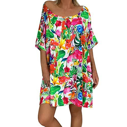 LOPILY Damen Sommerkleider Chiffon V-Ausschnitt Strandkleider Kurzarm Casual A-Linie Lose Minikleid Boho Blumendruck Knielanges Kleid (Rosa, 42)