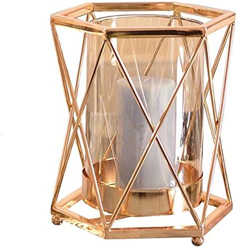 Tenedor de Vela de Cristal de Metal Lámpara de Vela romántica de la Vela Geométrico Candliestick Cena de la luz de Las Velas Props de la Mesa de la Mesa Regalo (Tamaño: 14 x 18 cm)