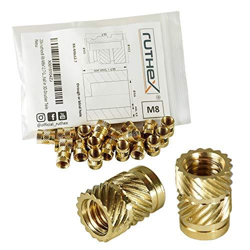 ruthex inserto filettato M8 (20 pezzi) - zoccoli filettati in ottoneRX-M8x9.5 - dado a pressione per parti in plastica - dal calore o dagli ultrasuoni nelle parti della stampante 3D