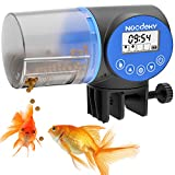 Noodoky Automatic Fish Food Feeder Timer Dispenser with 1.3 Inch Widen Adjustable Clamp Base for Aquarium or Small Fish Turtle Tank, Auto Feeding on Vacation or Holidays