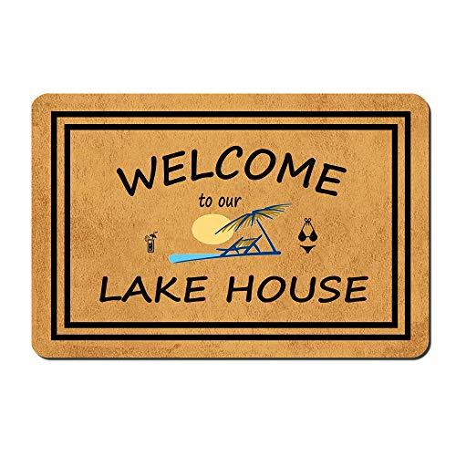 "MOMOBO Funny Doormat with Rubber Back -Welcome to Our Lake House Door Mat Entrance Way Doormat Non Slip Backing Funny Doormat Indoor Outdoor Rug 23.6""(W) X 15.7""(L)"
