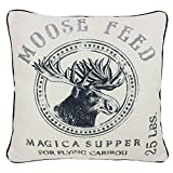 JuniperLab Magic Supper Moose Feed, Farmhouse Christams French Shabby Chic Grain Sack Style Pillow Covers Burlap Cotton White 16'' Square