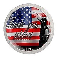 引き出しハンドルキャビネットノブ 4つの引き出しノブのラウンドパック,アメリカの国旗