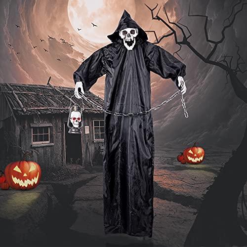 AYOGU Halloween Decorations Hanging Grim Reaper with Lamp, Halloween Prop Decoration, Outdoor Hanging Decorations, Lawn Decor