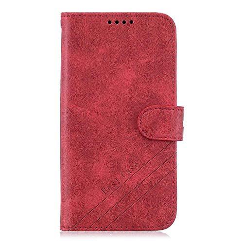 Reevermap Sony Xperia 10 II Hülle Flip Stoßstange stoßfest Rindsleder Kunstleder Brieftasche Kartenhalter Ständer Magnetschnalle Schale für Sony Xperia 10 II, Rot