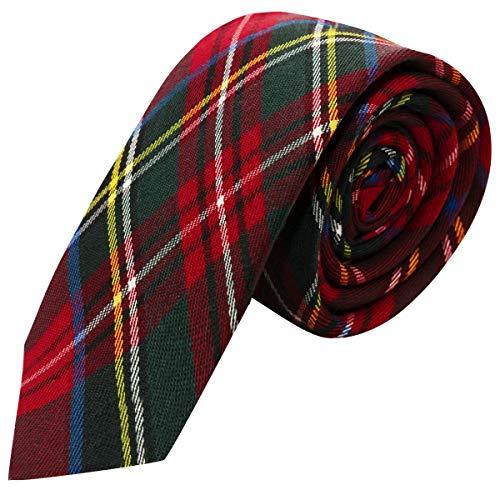 King & Priory Corbata Tradicional con Patrón Escocés Rojo