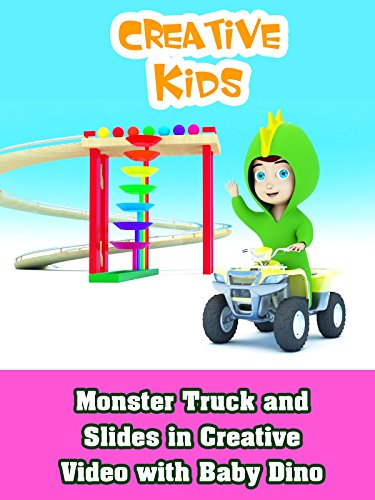 Monster Truck and Slides in Creative Video with Baby Dino