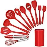 LIANYU 12-Piece Red Silicone Kitchen Cooking Utensils with...
