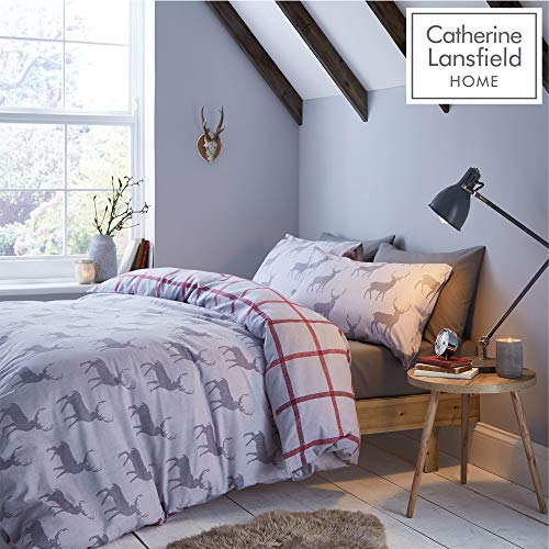 Catherine Lansfield Brushed Cotton Stag King Duvet Set Grey