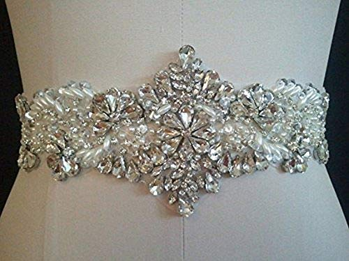 Pardecor Bridal Belt with Rhinestone Bridal Wedding Dress Belt Crystal Rhinestone Pearl Belts Diamond Beaded Women's sash for Bridesmaid Gowns sashes