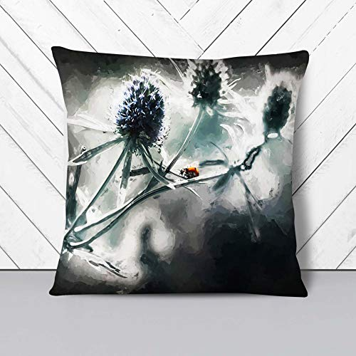 Big Box Art Cushion and Cover - Ladybird Upon a Thistle Flower in Abstract - Single Square Throw Pillow - Soft Faux Suede Material - Stone Rear - 60 x 60 cm