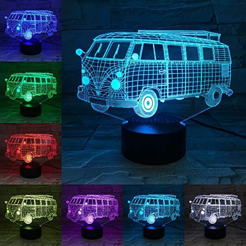 Camping Schoolbus 3D-nachtlampje, LED illusie lamp met 7 kleuren wijzigen en afstandsbediening – verjaardag en kerstcadeaus voor kinderen bedlampje slaapkamerdecoratie