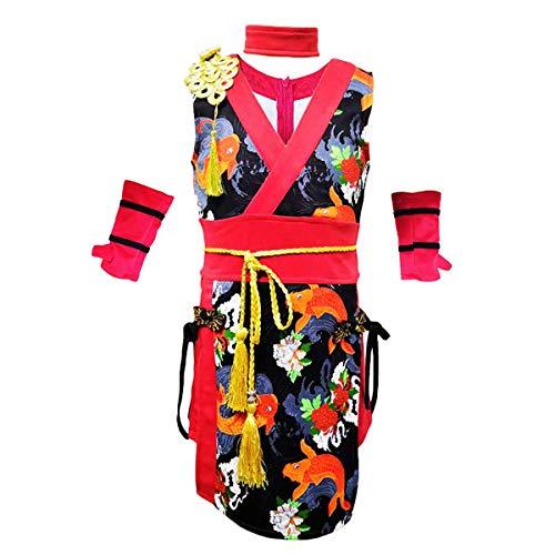 unbrand Mädchen Kleider Kostüm Chinese Cheongsam für Mädchen Kurzarm Sommerkleid Party Outfit Hip Hop Dancewear Qipao Leistung für Ballett-Training